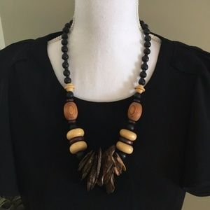 Tribal/Boho Wooden Statement Necklace